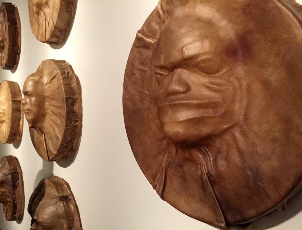 """Gaaw Kooteeyaa 1, 2, 3"" by Da-Ka-xeen Mehner. At the Exhibition Conversations: Eiteljorg Museum 2015 Contemporary Art Fellowship."