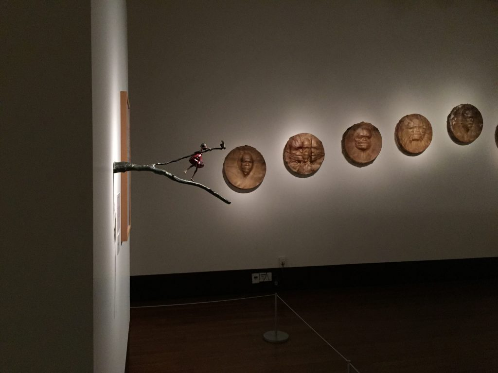"Left: ""On a Limb"" by Holly Wilson. Right: ""Saligaaw 1-9"" by Da-Ka-xeen Mehner. At the Exhibition Conversations: Eiteljorg Museum 2015 Contemporary Art Fellowship."